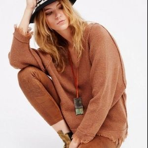 Free People Terracotta Irresistible V Sweater